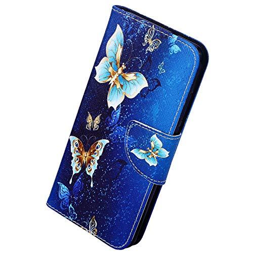 Herbests Kompatibel mit Samsung Galaxy Note 10 Plus Handyhülle Flip Wallet Brieftasche Hülle Leder Bookstyle Tasche Case Handytasche Hülle Ledertasche Klapphülle Kartenfächer,Gold Schmetterling