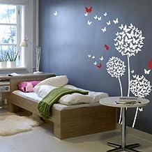 """Adhesivo de Pared, mariposas, flores cita de diente de león en el Viento adhesivo decorativo vinilo salón decoración, vinilo, 2, 80""""x80"""""""