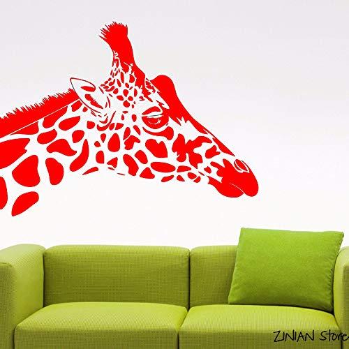 Giraffe Kopf Wandaufkleber Tier Vinyl Aufkleber Wohnzimmer Dekor Wanddekoration Wasserdichte Wand Tattoo Wandhauptdekor rot 56x73 cm (6 Boot Glocke)