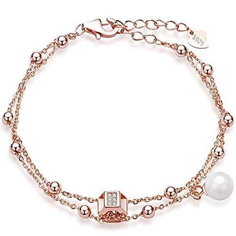 Unendlich U Kubisch Sechseck Beads Damen Charm-Armband 925 Sterling Silber Zirkonia Perle Armkette Strangarmband Verstellbar Armkettchen, Rosegold
