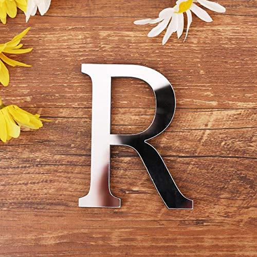 Spiegel Buchstaben Wandaufkleber, 3D DIY Kreativ Acryl 26 Alphabet Buchstaben abnehmbare Wandsticker Decals Für Wohnzimmer Schlafzimmer Wohnkultur (R) (3d Alphabet Buchstaben)