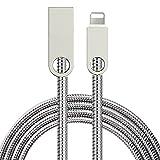 LoongGate Lightning a Cable USB, Resorte Conector de Aleación de Zinc de Tubo Suave de Acero Inoxidable - 2.4A Cable de Carga Rápida para iPhone X / 8/8 Plus / 7/7 Plus / 6/6 Plus / 6S / 6S Plus / 5 / 5S / SE, iPad, iPod - 1 Metro (3.3 pies) - Plata
