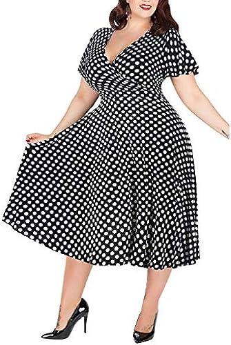 Auifor& 10084;Frauen mit V-Ausschnitt Elegantes Kleid mit Bund und großes Kleid