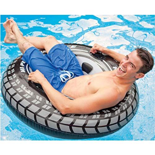 LSSMN Schwimmring 114 cm Gaint LKW Reifen Aufblasbare Schwimmring Mit Griff Float Rohr Floß Für Erwachsene Schwarz Rad Schwimmen Kreis Wasser Party Spielzeug