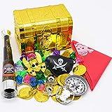 ALTINOVO Juguete de Caja de cofres del Tesoro Piratas, repleto de OROS, Piedras Preciosas y Joyas