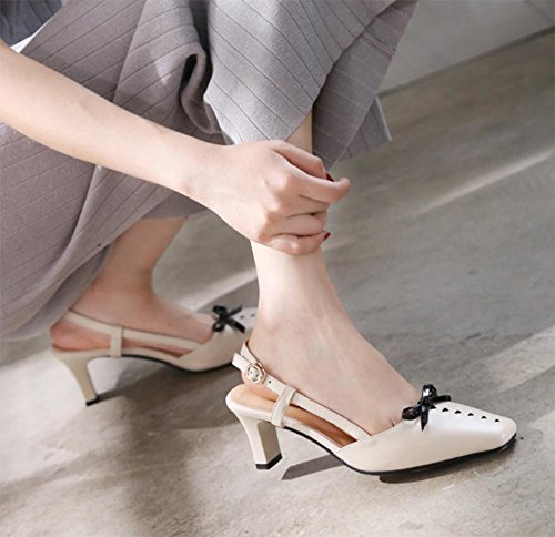 Sommer Sandalen Baotou hohlen Bogen Sandalen und Pantoffeln Sandalen weibliche dick mit quadratischen Kopf Frauensandelholzen Schuhe meters white