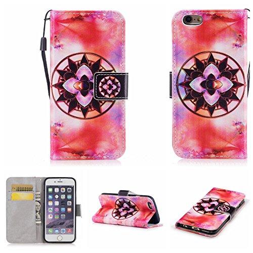 invei iPhone 6 Handyhülle,iPhone 6S Flip Case,Bunte Muster Design/Ledertasche Schutzhülle Leder Huelle Stand Magnetverschluss -Mandala Blumenmuster Mandala Blumenmuster