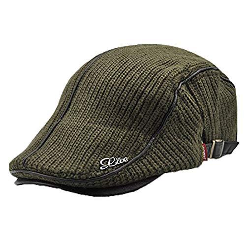 LAOWWO Herren Flache Kappe Vintage Schiebermütze Winter Flache Kappe Flat Cap Klassischer Knit Flacher Hut Schlägermütze Golfermütze