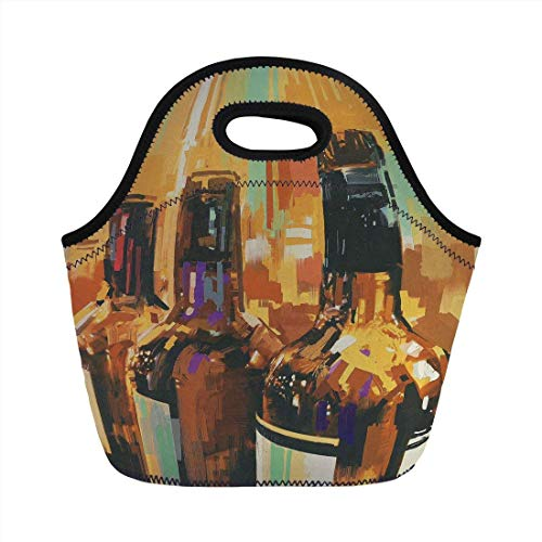 Portable Bento Lunch Bag,Wine,Colorful Painting Style Bottles of Wine with Vivid Bruststrokes Beverage Artwork Print Decorative,Multicolor,for Kids Adult Thermal Insulated Tote Bags