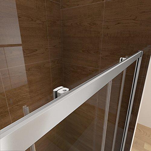 100 x 185 cm Nischentür Duschtür Schiebetür Duschabtrennung Duschwand aus 6mm ESG Sicherheitsglas Klarglas ohne Duschtasse - 9