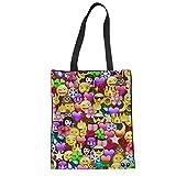ZXXFR Frauen Schultertasche Emoji Smiley Canvas Handtasche Jugendlicher Mädchen Große Tote Mode Shopping Kupplung, W1268Z 22.