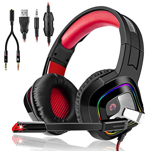 3I Dn. Casque Gaming PS4,Casque PC Mac Phone Ultra-Léger...