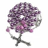 Nazareth Store Katholische Lila Perle Perlen Rosenkranz Halskette 6pcs Unsere Rose Lourdes Medaille & Kreuz NS