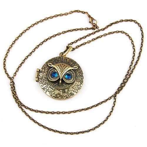 TOOGOO(R) Collar Colgante de Laton Estilo Antiguo Vintage, Diseno de Buho con Ojos de Circon Azul