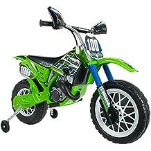 INJUSA - Moto de Cross Kawasaki a batería 6V para niños de 3 años con Freno