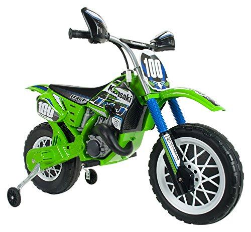 INJUSA Moto de Cross Kawasaki a Batería 6V Licenciada para Niños de +3 Años con Acelerador y Freno en la Empuñadura, Color Verde (6775)