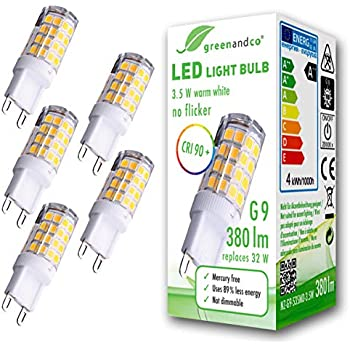 5x Lámpara bombilla LED greenandco® IRC 90+ G9 3,5W (corresponde a 32W) 380lm 3000K (blanco cálido) 300° 230V AC, sin parpadeo, no regulable
