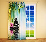 Clever-Kauf-24 Schlaufenschal Vorhang Gardine Steine Orchidee Bambus BxH 145 x 245 cm   Sichtschutz   Lichtdurchlässiger Schlaufenvorhang
