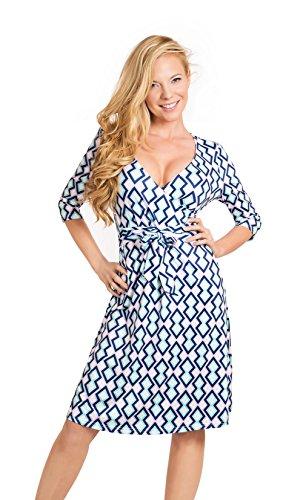 Clasichic Damen Mini Wickelkleid Sommerkleid Partykleid Cocktailkleider Kariert mit V-Ausschnitt Blau
