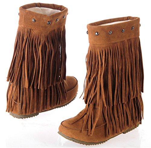 Femmes Gland talon bas Wedge classique mode hiver chaussures chaudes glisser sur les bottines plates mocassins Rouge