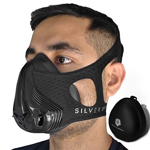 Silver Sport Neue 2019 Premium Trainingsmaske, atemmaske Training,Training mask, Höhentraining, 24 Verschiedene Widerstandsstufen, ausdauer Maske +Tragetasche