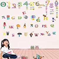 Walplus Wall Stickers Alphabet Cute Numbering Removable Self-Adhesive Mural Art Decals Vinyl Home Decoration DIY Living Bedroom Office Décor Wallpaper Kids Room Gift, Multi-colour