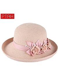 ZHANGYONG Sombrero de Paja de verano femenina visor marea de ocio sunscreen playa  cap puede 407307a5888
