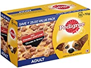 Pedigree Adult Wet Dog Food, Chicken & Liver Chunks in Gravy, 70 g (Pack of