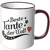 Wandkings® Tasse, Spruch: Beste Tante der Welt - BORDEAUX