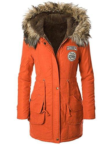 PANDA COS Womens Warm Winter Parkas Coats Faux Fur Lined Overcoats L Orange