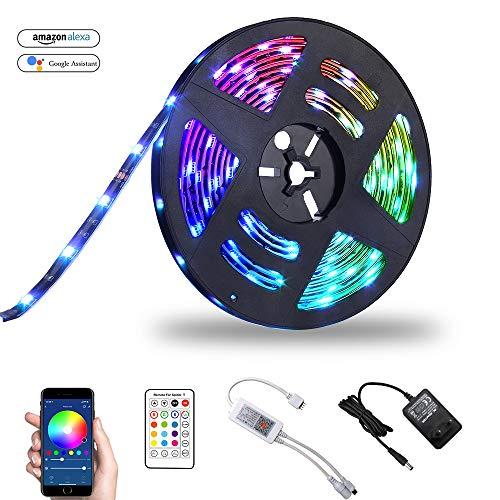 Ruban LED 5M Connectée WIFI Télécommande Compatible Avec Amazon Alexa Google Home Bawoo Lampe Bande Led 5050 RGB Autocollant Etanche Pour Extérieur Maison TV