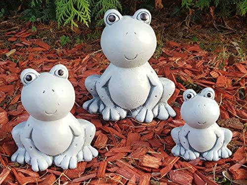 Gartenfiguren 3-Set Frosch-Familie wetterfest Deko für außen Garten Balkon Terassen Gartenteich