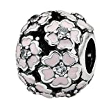 CHANGEABLE Bead Charm per Donne Ragazze Fascino Charms Argento Sterling 925 Bianca Cristalli Primula