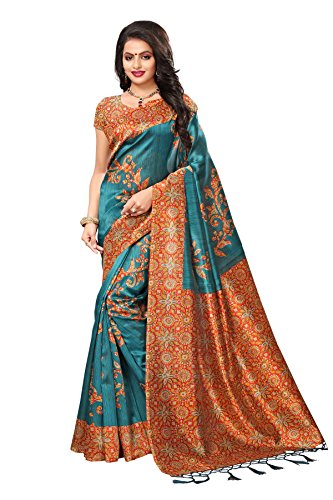 Applecreation women\'s art silk saree with blouse piece (SRJK051_Green_Free Size)