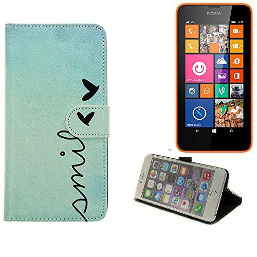 360° Wallet Case Schutz Hülle für Nokia Lumia 630 Dual SIM, ''smile'' | Smarpthone Flip cover Flipstyle Tasche - K-S-Trade (TM)
