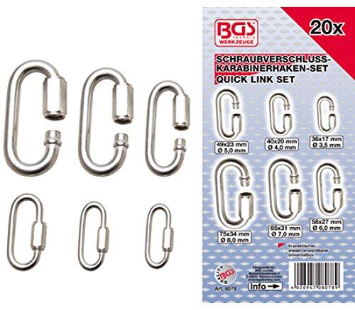 BGS 8078 | Schraubverschluss-Karabinerhaken-Sortiment | 20-tlg.