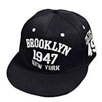 Kingko® Embroidery Snapback Boy Unisex Hiphop Hat Adjustable Baseball Cap (Black)