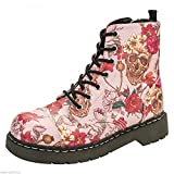 T.U.K. T2229Tuk Anárquico 7Eye Botas Zapatos de Señoras Rosa de Calavera de Rosas Impresión Vegan, Color, Talla 41 EU