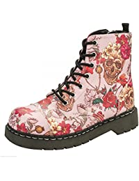 T.U.K. T2229TUK anárquico 7Eye Botas Zapatos de señoras rosa de calavera de rosas impresión Vegan