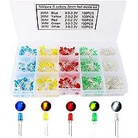 KINYOOO 500 PCS Led Leuchtdioden 3 mm, Rund Farbe Dioden 3 mm 2-poligen, (5 Farben x 100pcs), Farbe Sortiert Weiß/Rot/Gelb/Grün/Blau Kit Box Set