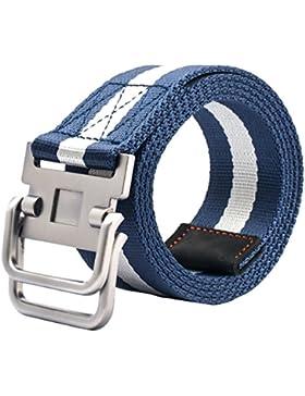 TYGRR Cinturón De Lona hombres Correa De La Juventud Cinturón Casual Hebilla Doble Hebilla De Aleación Suave