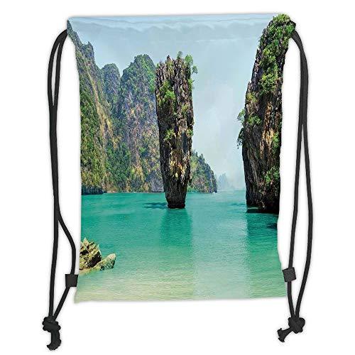 Fashion Printed Drawstring Backpacks Bags,Ocean Island Decor,James Bond Stone Island Landscape in Tropical Beach Cruising Journey of Life Photo,Green Brown Soft Satin,5 Liter Capacity,Adjustable S -