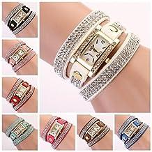 Fenkoo banda de diamantes de imitación de línea diamante rectangular reloj de las mujeres