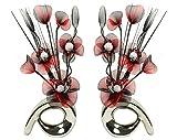 Flourish 794385 1 Paar passende künstliche Blumen in Vase, 32cm Red/Black in Chrome Vase