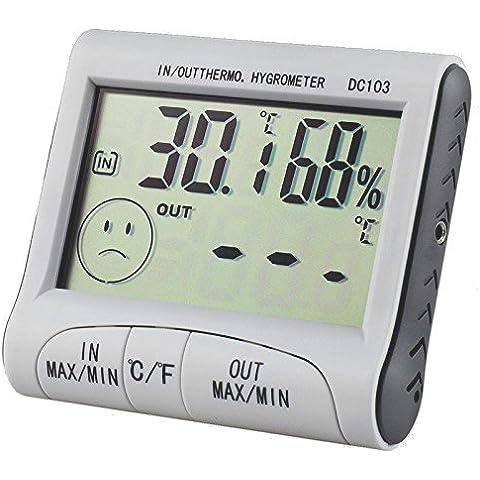 TRIXES interior/exterior Digital LCD termómetro e higrómetro de invernadero casa