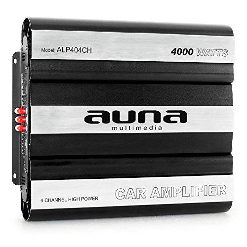 auna ALP404CH • Car HiFi Verstärker • 4-Kanal Auto-Endstufe • Car Amplifier • MOSFET • brückbar • 4/3/2-Kanal Betrieb • 4000 Watt Peak-Leistung • Hoch- / Tiefpassfilter • zuschaltbarer Super Bass • separate Crossover mit jedem Kanal • Aluminium • schwarz-silber