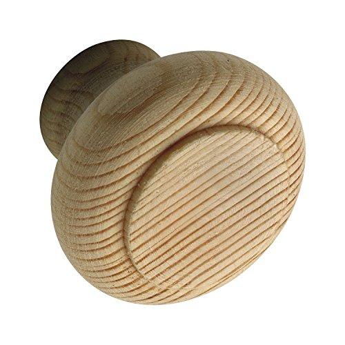 SECOTEC Möbelknopf Holz | Griff | Knauf | Fichte roh ø 32 mm | 1 Stück