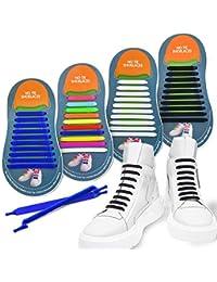 264b07a2c81d0 4 paia Lacci per scarpe da ginnastica elastici nessun lacci delle scarpe da  cravatta