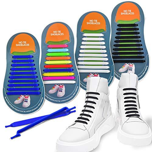 4 Paare Elastische Silikon Schnürsenkel Schleifenlose Schuhbänder Flexible Dauerhaft ohne Binden/Schnellschnürsystem mit Schnellverschluss für Erwachsene Turnschuhe Segeltuchschuhe Skateboard Schuhe