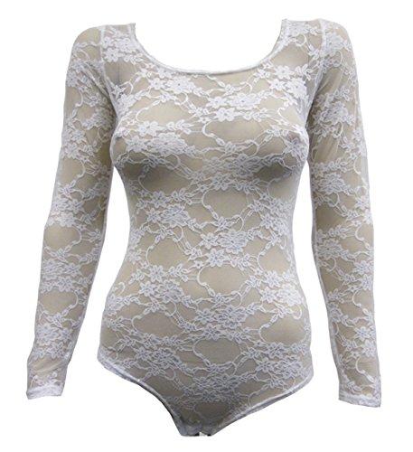Nuovo da donna pizzo a motivo floreale corpo Top taglia da donna per ballerine le misure Plus 8-26 Bianco